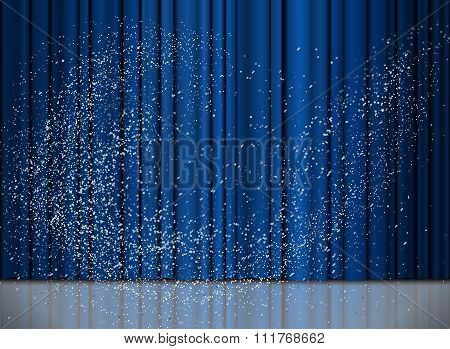 Christmas And New Year Blue Curtain With A Snow