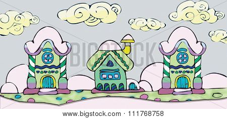 Christmas disign with fairy houses in snow