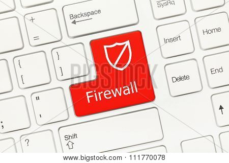 White Conceptual Keyboard - Firewall (red Key)