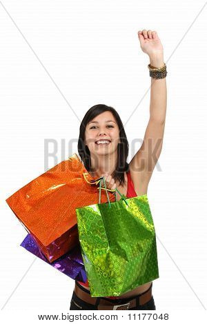 Pretty And Happy Shopping Girl