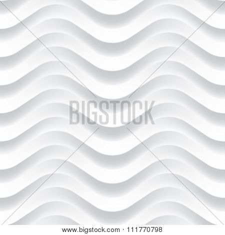 Vector white wave texture. Seamless background. White seamless texture for Interior wall decoration. 3D Vector interior wall panel pattern. Modern wavy white design wall.