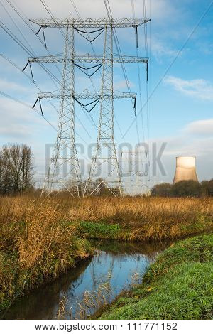 Power Lines And Pylons In A Rural Area