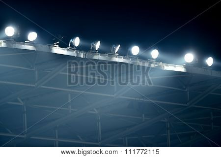 Night Scene With Stadium Spotlights In Fog