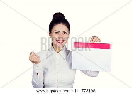 Successuful student business woman excited holding banner