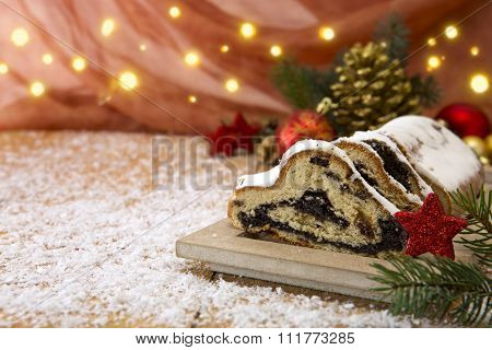 Traditional German Christmas cake   and decoration.