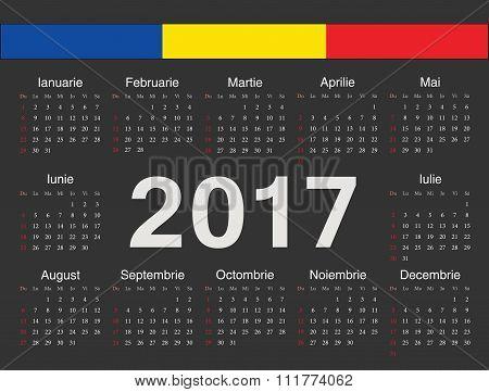 Vector Black Romanian Circle Calendar 2017