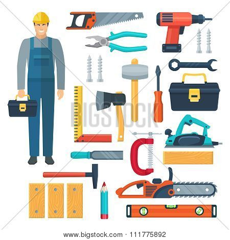 Carpentry Flat Color Icons Set