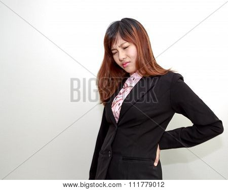 Backpain Of Female Business, Concept Of Office Syndrome With Spinal Or Lower Back Problem