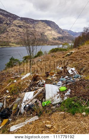 Rubish Dumped On Banks Of Loch Leven In Scottish Highlands.