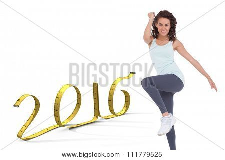 Fit woman doing aerobic exercise against white background with vignette