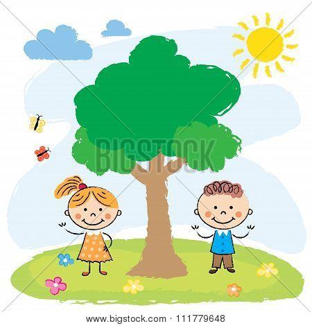 Boy and girl near big tree