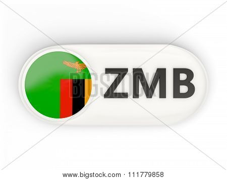 Round Icon With Flag Of Zambia