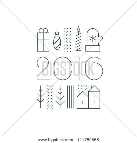 New Year collage for a greeting card or window dressing