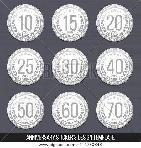 Vector set of anniversary stickers. Ten, fifteen, twenty, thirty, forty, fifty, sixty, seventy years