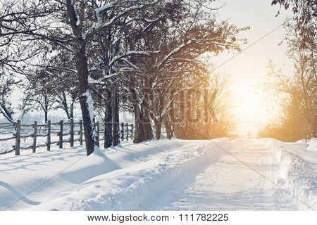 Snowy road sunset