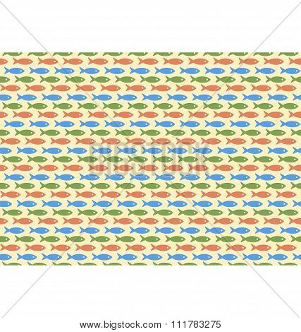 Seamless sea pattern. Multicolor fishes on yellow