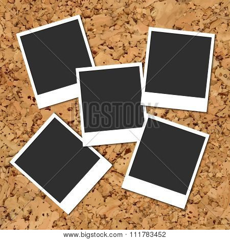 Vector cork board with scattered photo cards