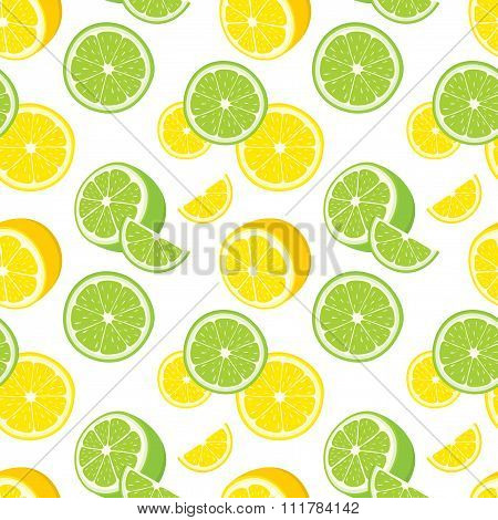 Vector seamless background of lemon and lime slices.