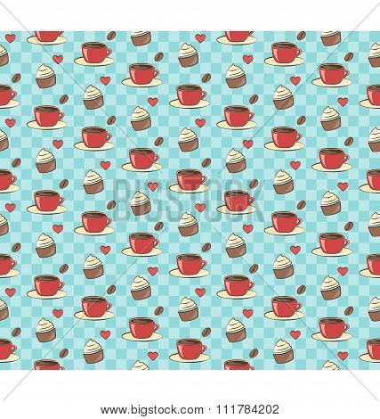Seamless sweet pattern. Cupcake with cup of coffee and heart on