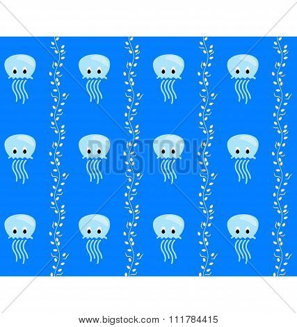 Seamless sea pattern Blue jellyfish and yellow algae on blue