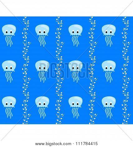 Seamless sea pattern Blue jellyfish and yellow algae on blue