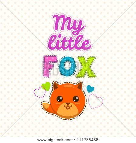 Cute kids illustration with a fox face