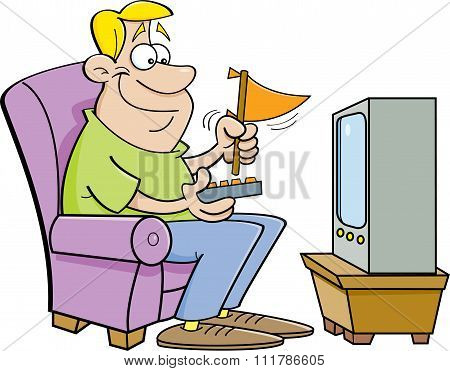 Cartoon man watching television and holding a pennant.