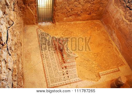 Ancient mosaique in Masada, Israel