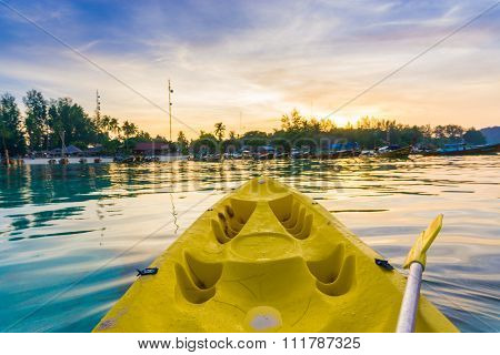 Kayaking At The Tropical Beach With Beautiful Sunset.