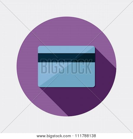 Flat design payment card icon with long shadow