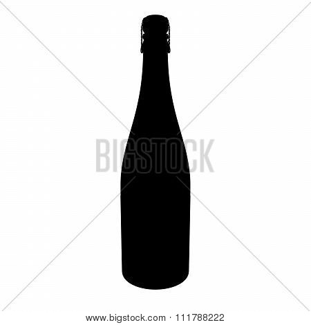Corked Champagne Bottle Alpha/selection Mask Silhouette Isolated On White