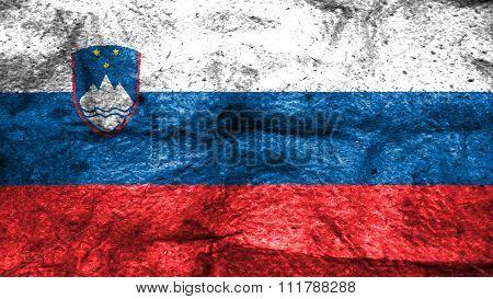 Slovenia flag, Slovenian Flag painted on wool