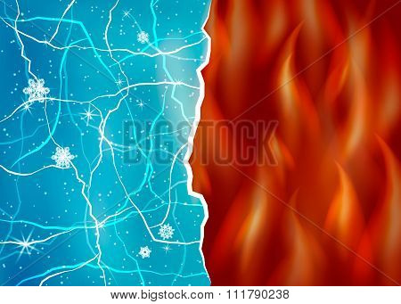 Ice and fire vector illustration.