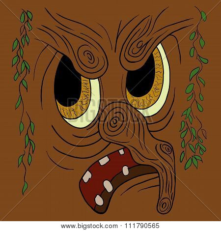 Cartoon Angry Trees Face. Vector Illustration.