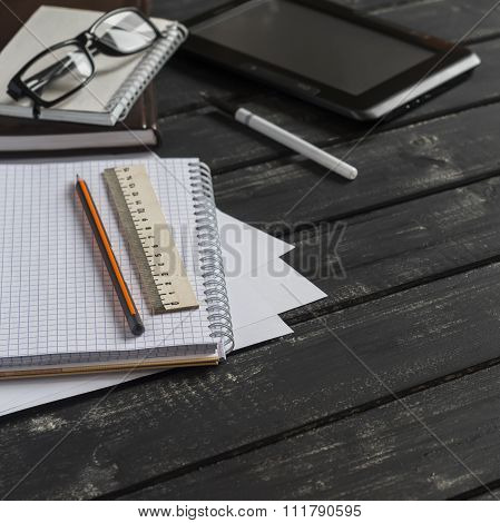 Office Desk With Business Objects - Open Notebook, Tablet Computer, Glasses, Ruler, Pencil, Pen. Fre