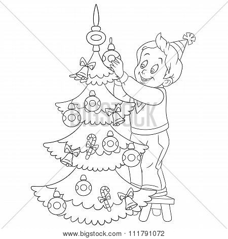 Cute Cartoon Boy And Xmas Tree