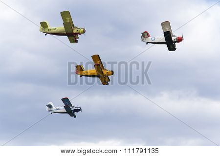 Hradec Kralove, Czech Republic - September 5: Group Of Antonov An-2 Biplanes Flying On September 5,