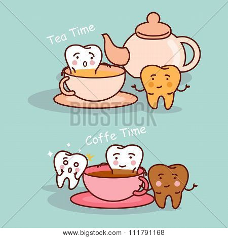 Tooth With Coffee And Tea