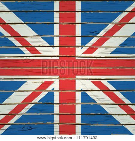 Britain Flag On Wood Texture