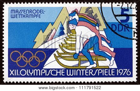 Postage Stamp Germany 1975 Tobogganing, Winter Sport