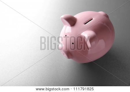 Pig moneybox on light background