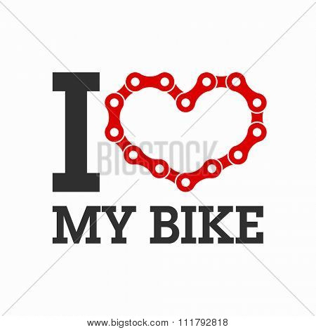 I love my bike poster. Vector.