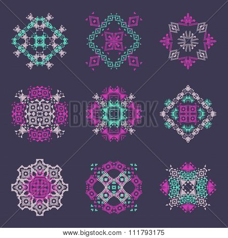 Vector Set Of Tribal Colored Decorative Patterns For Design. Aztec Ornamental Style