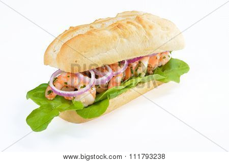 Sandwich with shrimps