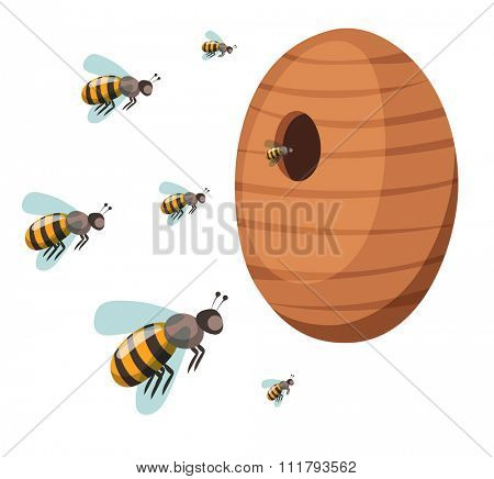 Apiary honey bee house apiary vector illustrations. Apiary vector symbols. Bee, honey, bee house, honeycomb. Honey natural healthy food production. Bee, flowers, beehive and wax