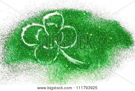 Abstract four-leaf clover of green glitter sparkle on white background