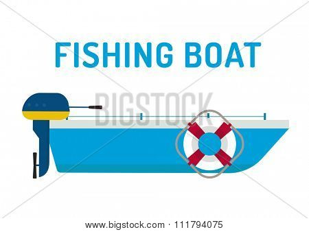Fishing boat ship vector illustration. Fishing boat flat style, fishing ship silhouette. Fishing boat and fishing ship vector. Fishing boat. Fishing design elements. Fishing hobby boat