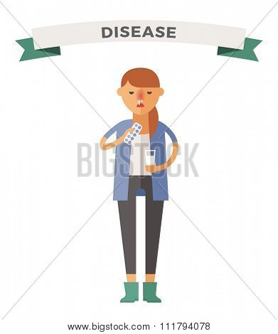Illness girl vector illustration. Seasonal virus attack. Woman illness, people sick. Girl cold illustration. People unwell need medical help. Virus, health, fever girl silhouette. People unwell vector