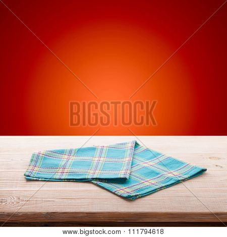 Empty Table And Tablecloth. Holiday Background.