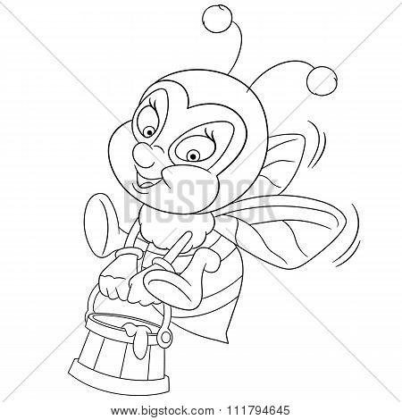 Happy Cartoon Bee With Honey